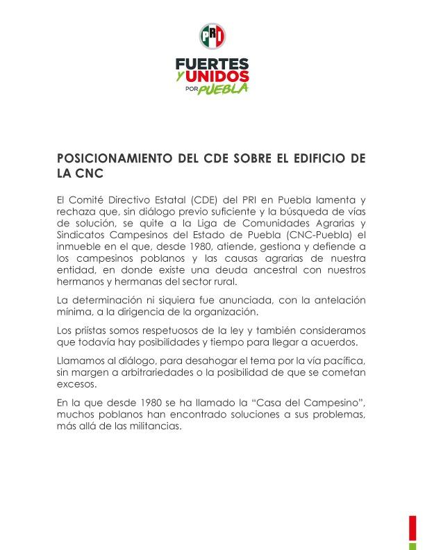 POSICIONAMIENTO DEL CDE SOBRE EL EDIFICIO DE LA CNC