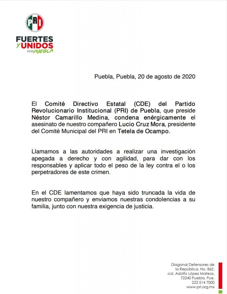 Pronunciamiento del Comité Directivo Estatal respecto al asesinato de nuestro compañero Lucio Cruz Mora
